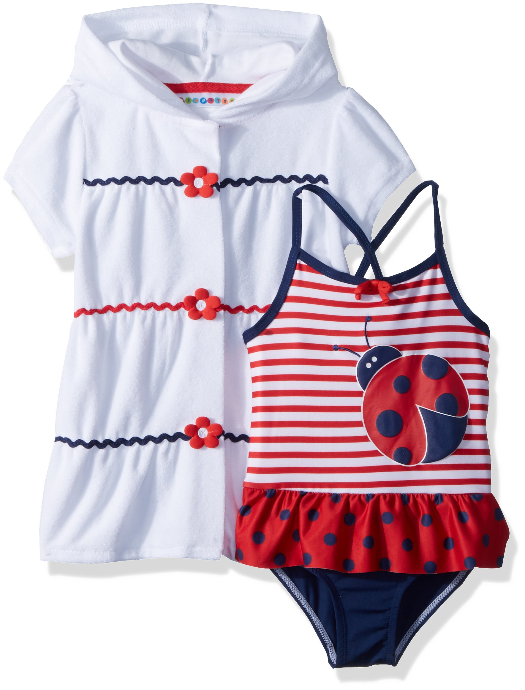 Wippette Toddler Girls' Coverup Set with Ladybug, Tomato, 4T