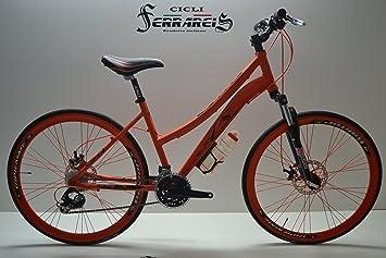 Bicicleta de carretera bicicleta híbrida Trekking mujer aluminio 3 x 7 Naranja y Negro: Amazon.es: Deportes y aire libre