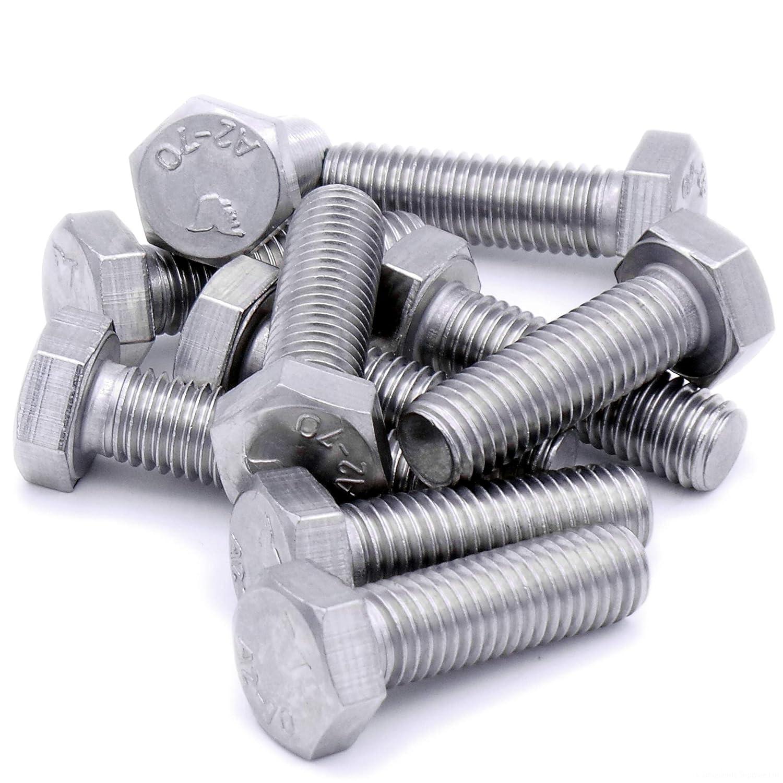 Tornillos hexagonales M12 (12 mm x 40 mm) (rosca completa) – acero inoxidable (A2) (Pack de 10) Singularity Supplies Ltd