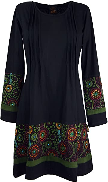 GURU-SHOP, Mini Vestido Hippie Boho Chic, Túnica, Negro/Verde,