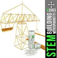 STEM Building with Spaghetti! | Connectorz 4X90° with Center Hole | 100 Pieces | Build Bridges, Towers, Shapes, and More | Great Educational STEM Construction Toy