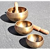 3 Pcs Tibetan Singing Bowl Standing Bell Set Himalayan Bowl For Chakras Meditation Mind Healing Peace of Heart Prayer Yoga Religion Buddhist Bowl w 2 Mallet Wooden Striker