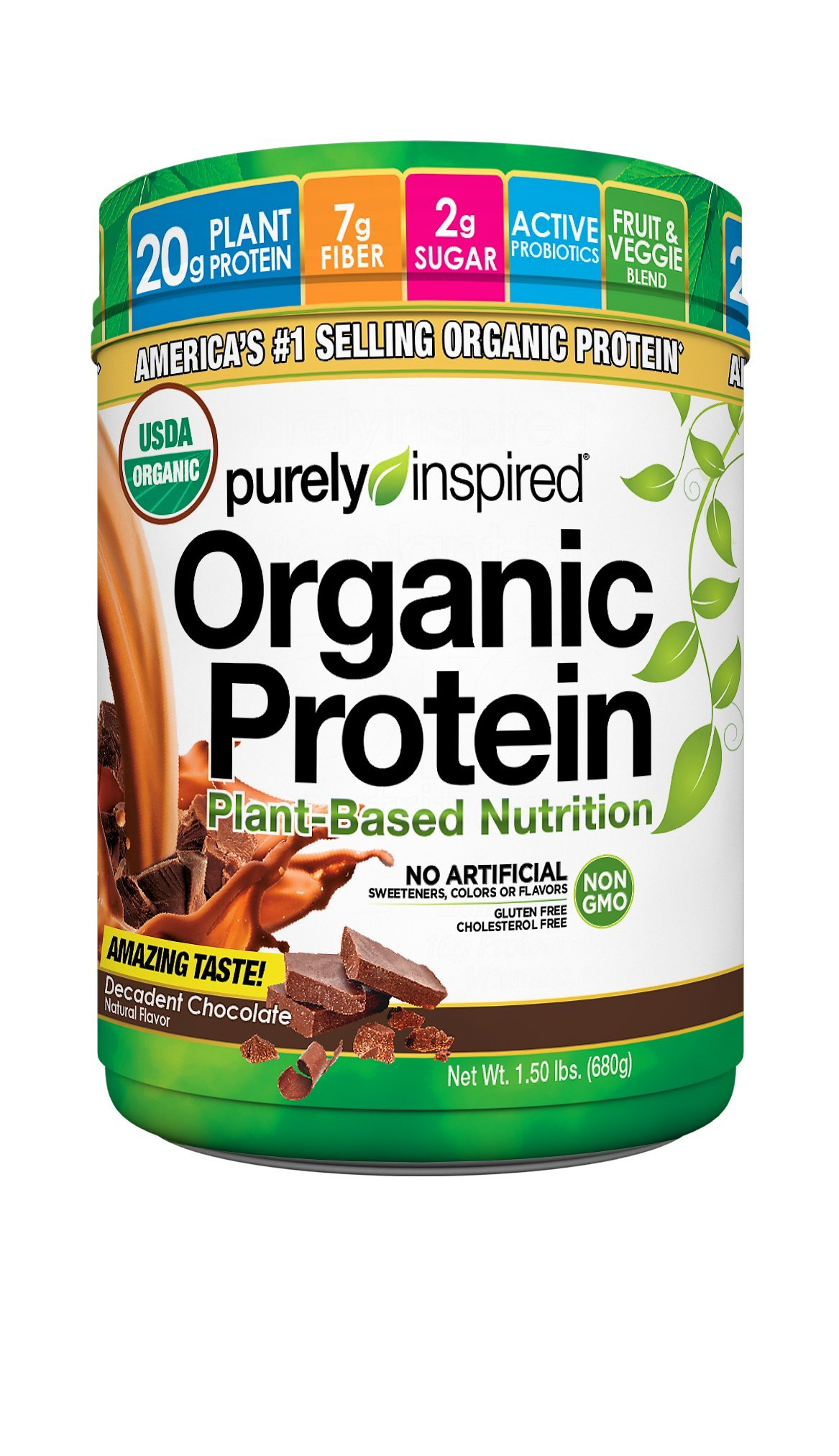 Purely Inspired Organic Protein Powder, 100% Plant Based Healthy Protein, Decadent Chocolate,1.5 pounds
