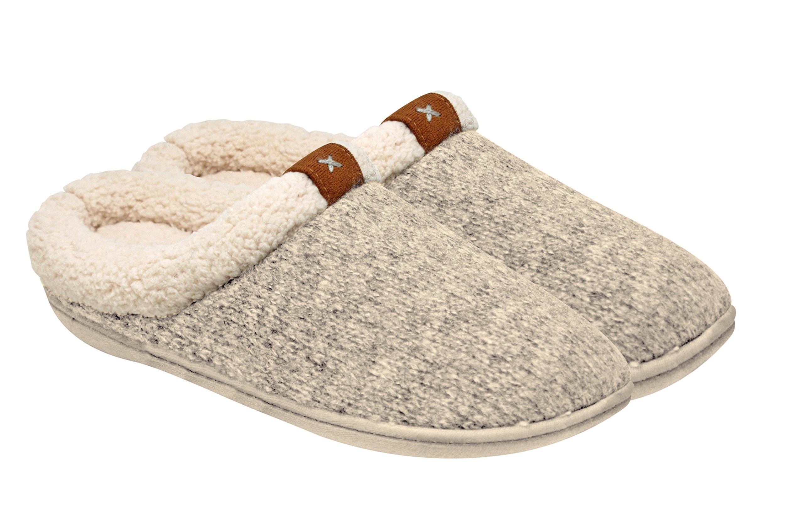 Adrienne Vittadini Women's Comfort Padded Memory Foam Sherpa House Slipper w Slip-Resistant Rubber Sole| Indoor/Outdoor