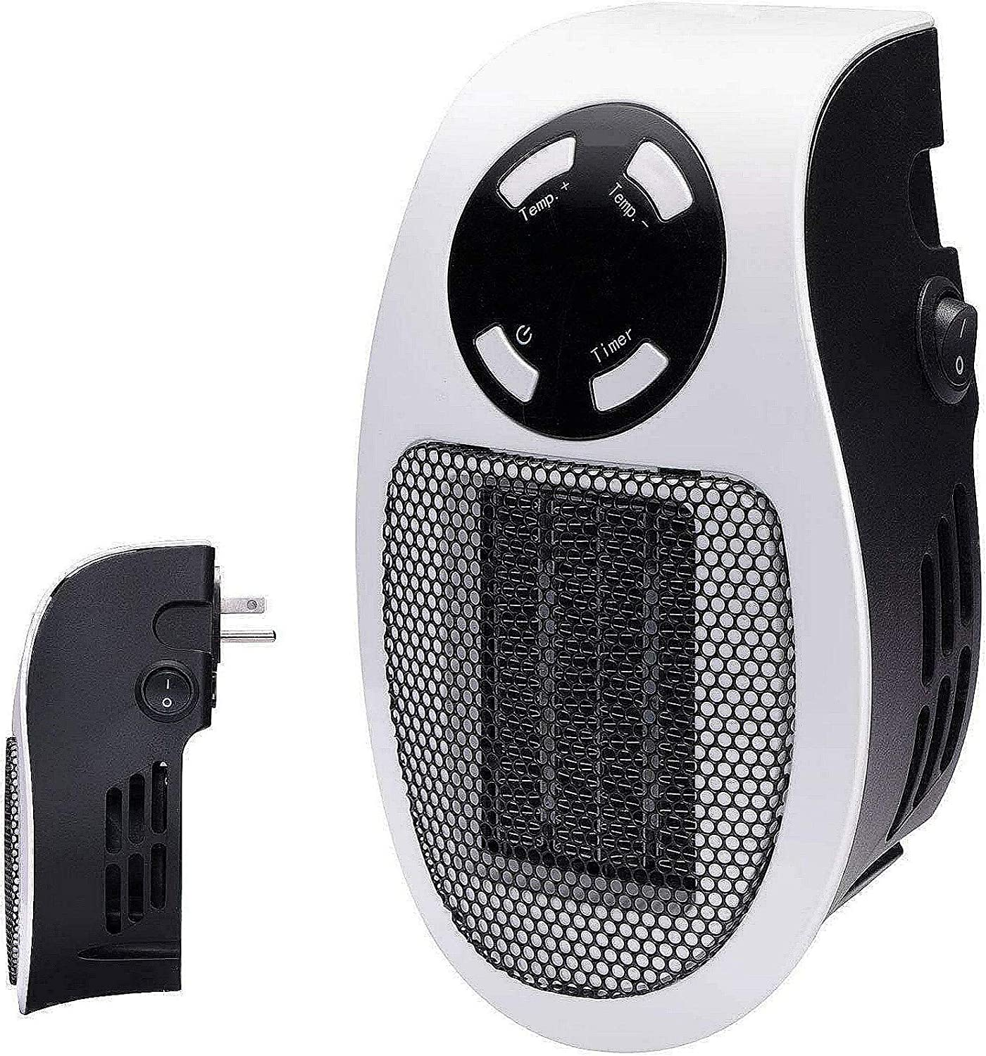 350W space heater for indoor use in homes and offices, wall outlet power space heater visible on TV, with adjustable thermostat, timer and LED display