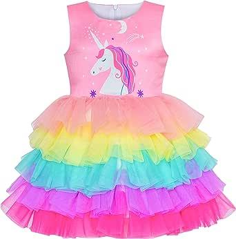Sunny Fashion Girls Dress Birthday Princess Ruffle Dress Cake Balloon Print Size 3-10 Years