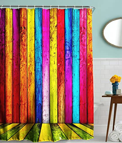 Amazon.com: Goodbath Striped Shower Curtain,Colorful Wooden Barn ...