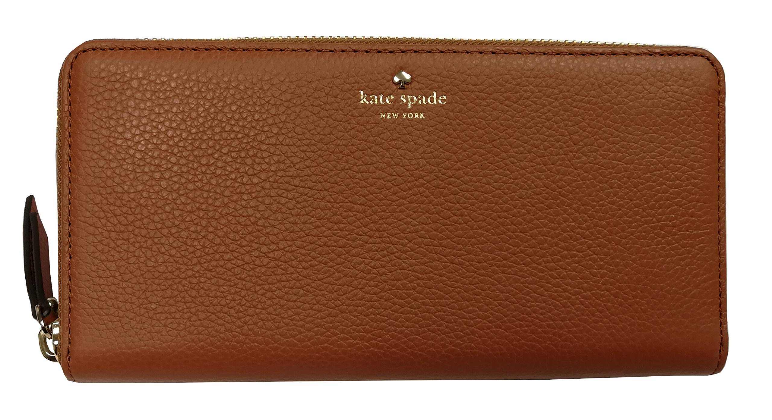 Kate Spade Larchmont Avenue Zip Around Large Pebble Leather Wallet Warm Cognac
