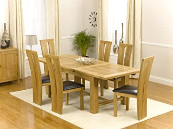 Jersey Farmhouse Extending Solid Oak Dining Table With 6 Montreal Brown Chairs