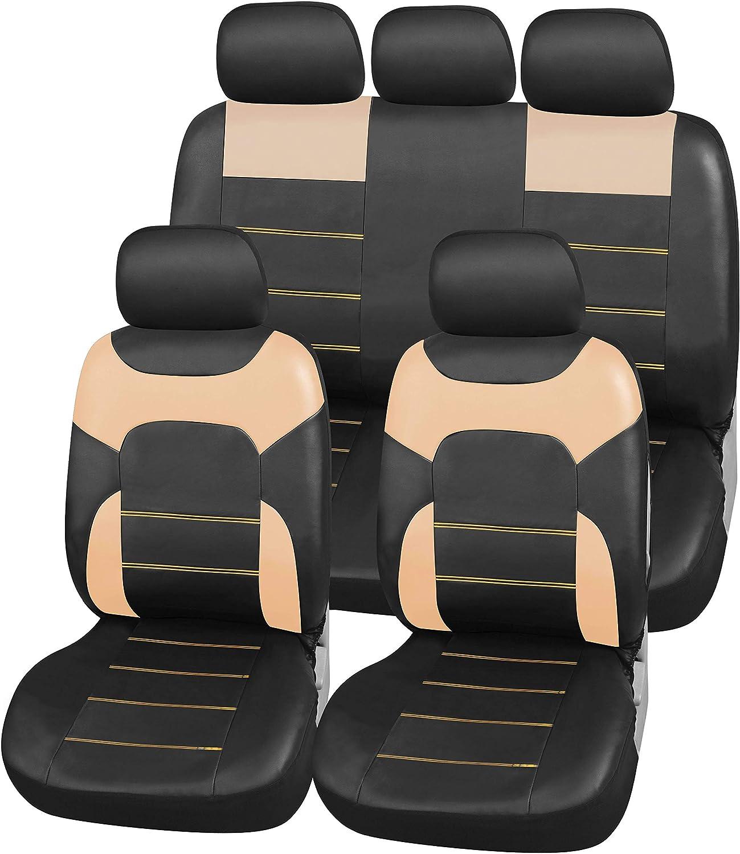 Upgrade4cars Auto Sitzbezüge Beige Leder Optik Universal Auto Sitzschoner Set Für Sommer Winter Kunstleder Auto Schonbezüge Für Die Vordersitze Rückbank B3 Beige Auto
