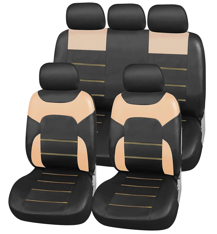 Auto-Schonbezü ge Leder-Optik Universal Schwarz | Auto-Sitzbezü ge Set fü r Sommer & Winter | Kunstleder Auto-Sitzschoner fü r die Vordersitze & Rü ckbank (B3 Schwarz) Upgrade4cars