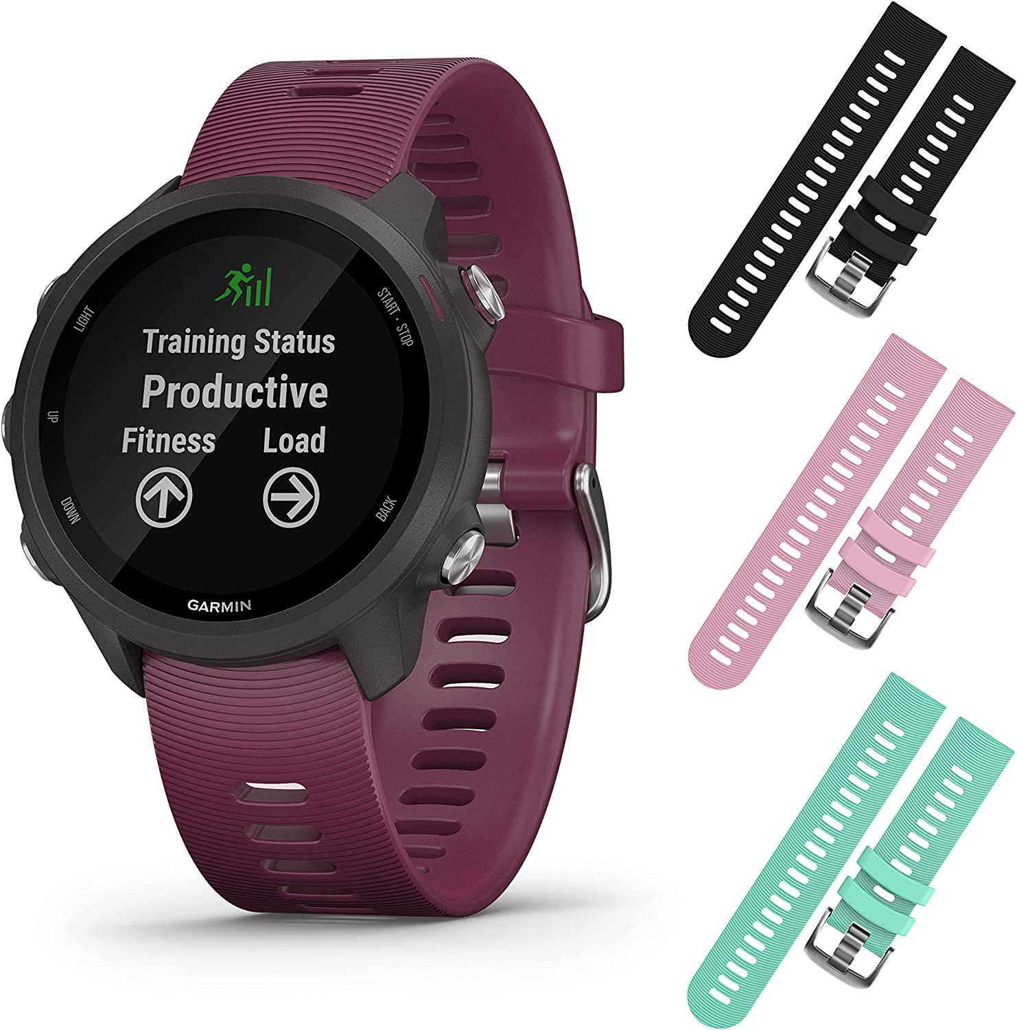 Garmin Forerunner 245 GPS Running Smartwatch with Included Wearable4U 3 Straps Bundle Berry 010-02120-01, Black Pink Teal