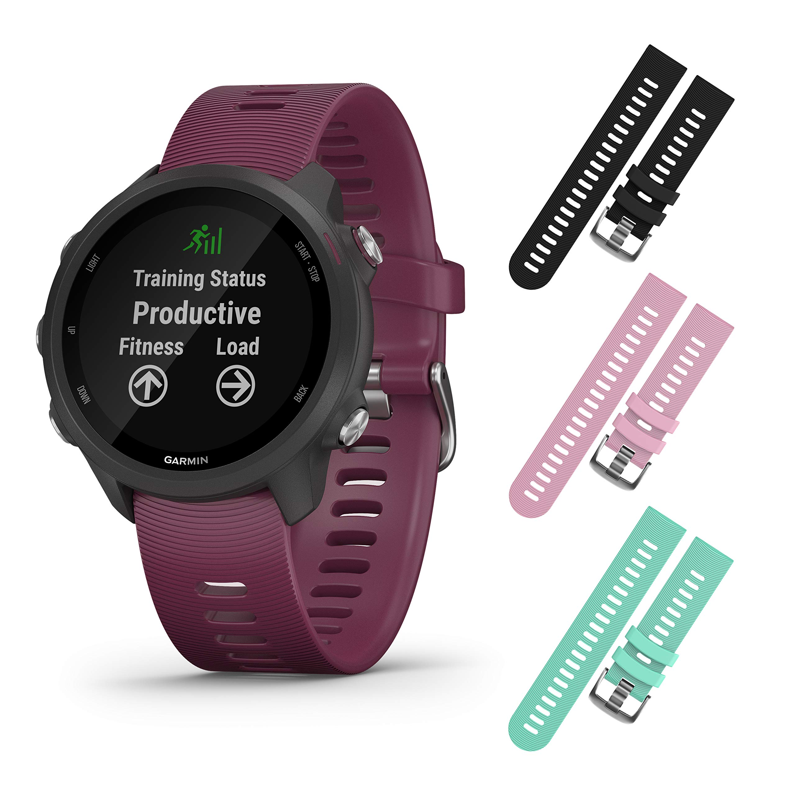 Garmin Forerunner 245 GPS Running Smartwatch with Included Wearable4U 3 Straps Bundle (Berry 010-02120-01, Black/Pink/Teal) by Wearable4u