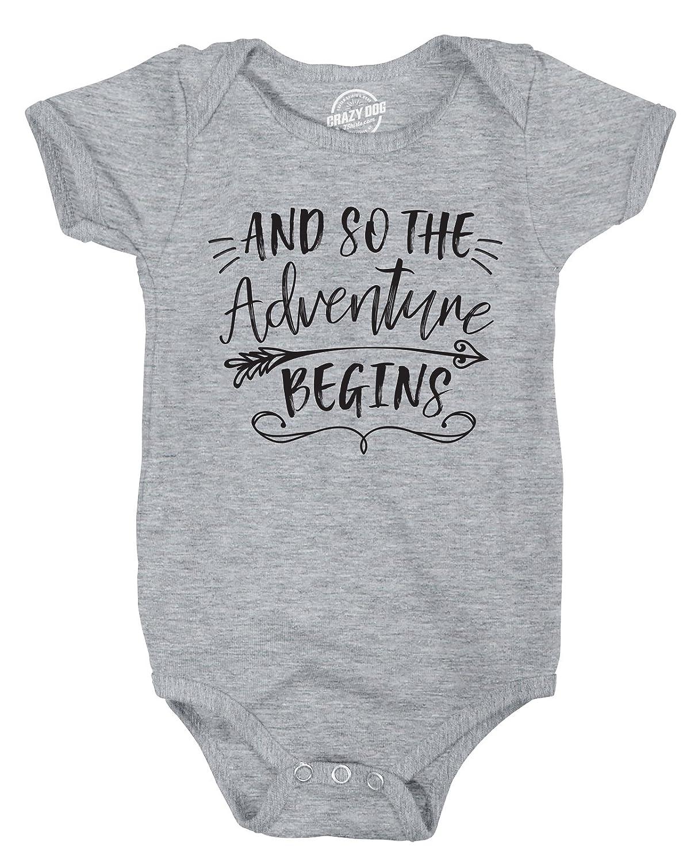 Crazy Dog Tshirts So The Adventure Begins Creeper Adorable Inspirational Jumpsuit Newborn