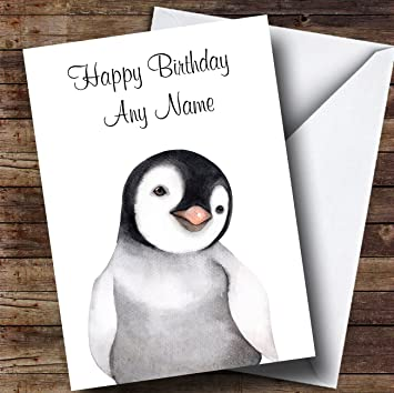 Cute Watercolour Penguin Personalised Birthday Card Amazon