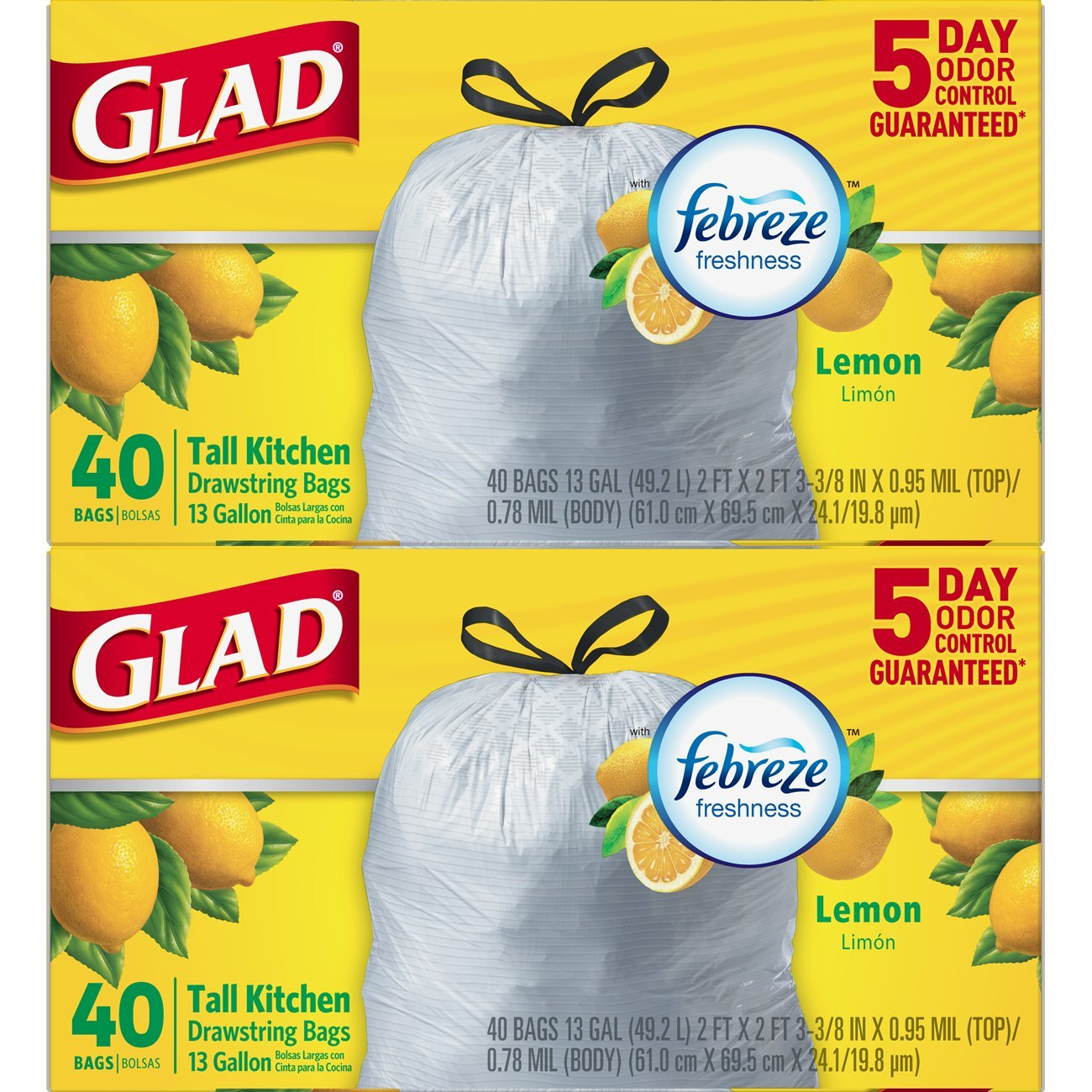 Glad Odorshield Tall Kitchen Drawstring Trash Bags, Lemon, 13 gal, 40 Count, (Pack of 2)