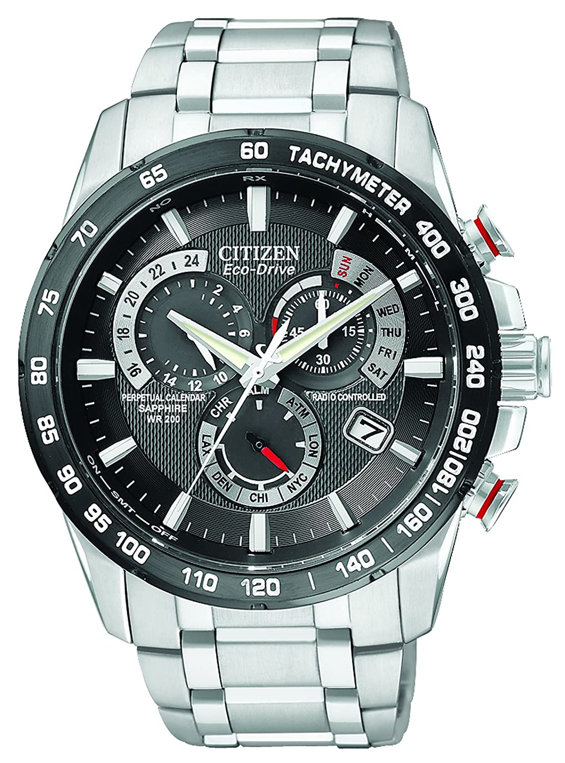 Citizen Men's Eco-Drive Chronograph Watch with Black Dial and Stainless  Steel Bracelet AT4008-51E: Amazon.co.uk: Watches