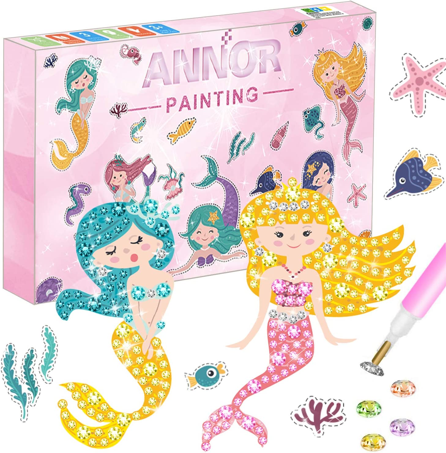 Boys Diamond Painting Stickers DIY Arts and Crafts for Girls TOY Life Diamond Painting Kit for Kids Kids Gem Art Kits Includes 26 Cute Diamond Stickers and Accessories Beginners