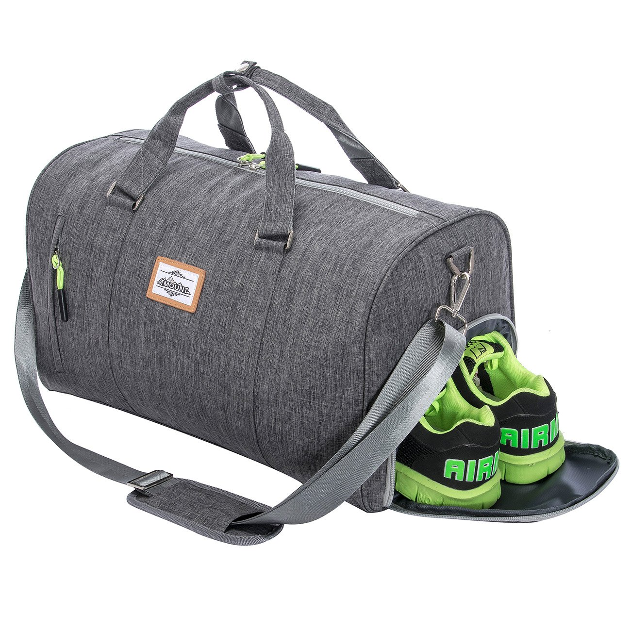 Duffle Bag Sports Gym Travel Luggage Including Shoes Compartment (Dark Gray)