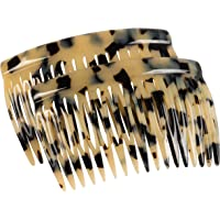 Charles J. Wahba Side Comb Pairs - 17 Teeth (Beige Spotted Color) Handmade in France
