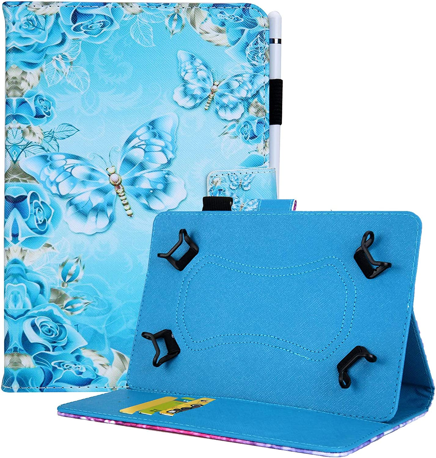 Dteck 9.5-10.5 Inch Universal Case, Nice Cute Flip Stand Case Protective Pocket Cover for Apple/Samsung/Kindle/Huawei/Lenovo/Android/Dragon Touch 9.7 9.6 10.1 10.5 Inch Tablet-Blue Diamond Butterfly