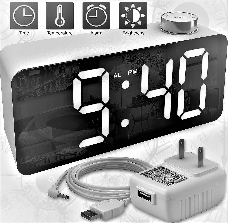 X Ykoki Alarm Clock – Digital Clock LED Display – Time Snooze Temperature Brightness Dimmer – Desk Clock for Kids Heavy Sleepers Adults – Modern Alarm Clocks for Bedrooms Bedside Home Battery Clock