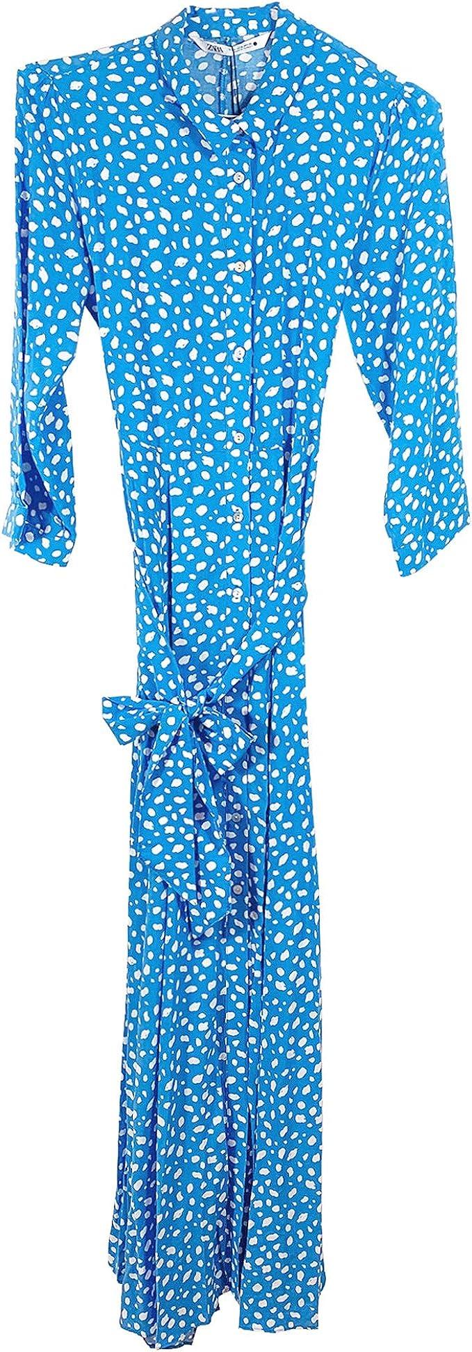 Zara 3198/242 - Vestido largo estampado para mujer - Azul ...