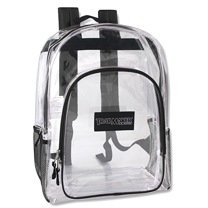 1c066bff7695 Deluxe Model Water Resistant Clear Backpacks for Men, Women, Kids, With  Reinforced, Padded Back Support Straps