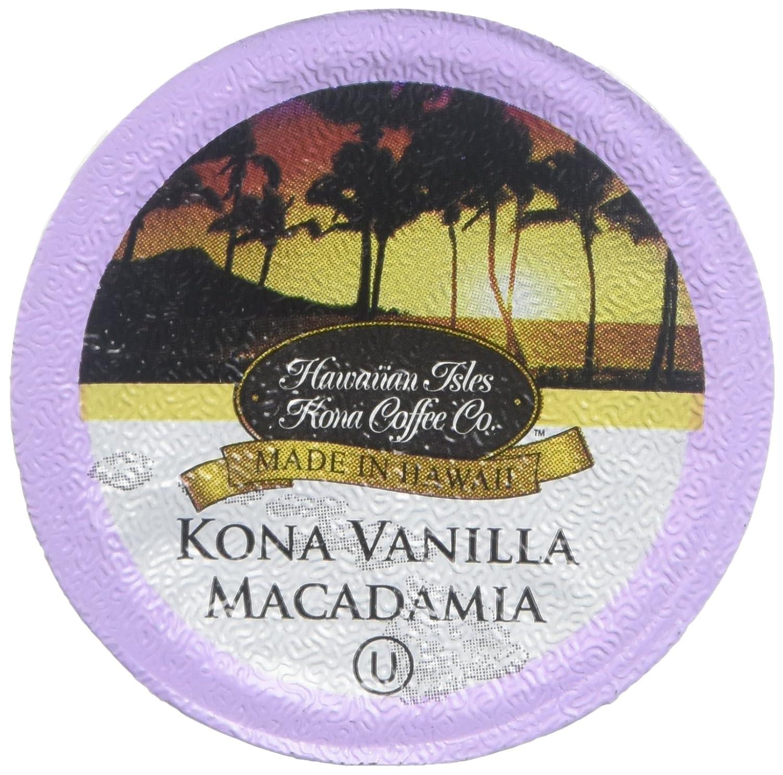 Hawaiian Isles Kona Coffee Co. Kona Vanilla Macadmia Nut Single-Serve K-Cup Pods Compatible, Medium Roast, 10 Count
