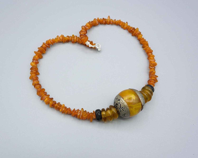 d5a5a5f76f18fa Bernsteinkette - tibetische Bernstein Kette - Tibet Amber - 925 Silber