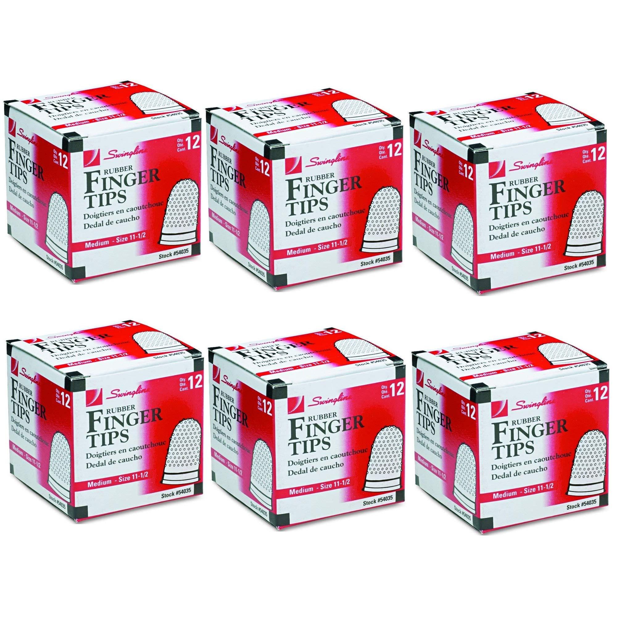 Swingline Rubber Finger Tips, Size 11 1/2, Medium, 12/Box (54035), 6 Pack by Swingline