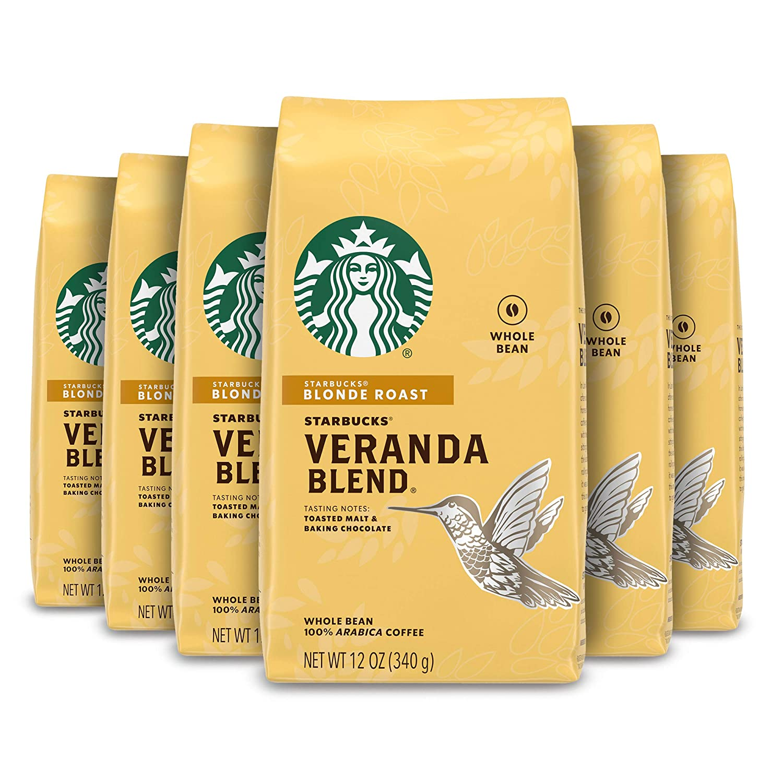 Starbucks Blonde Roast Whole Bean Coffee — Veranda Blend — 100% Arabica — 6 bags (12 oz. each)
