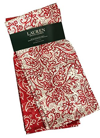 Lauren by Ralph Lauren Red& White Paisley Bandana Kitchen Towels100% Cotton Set ...