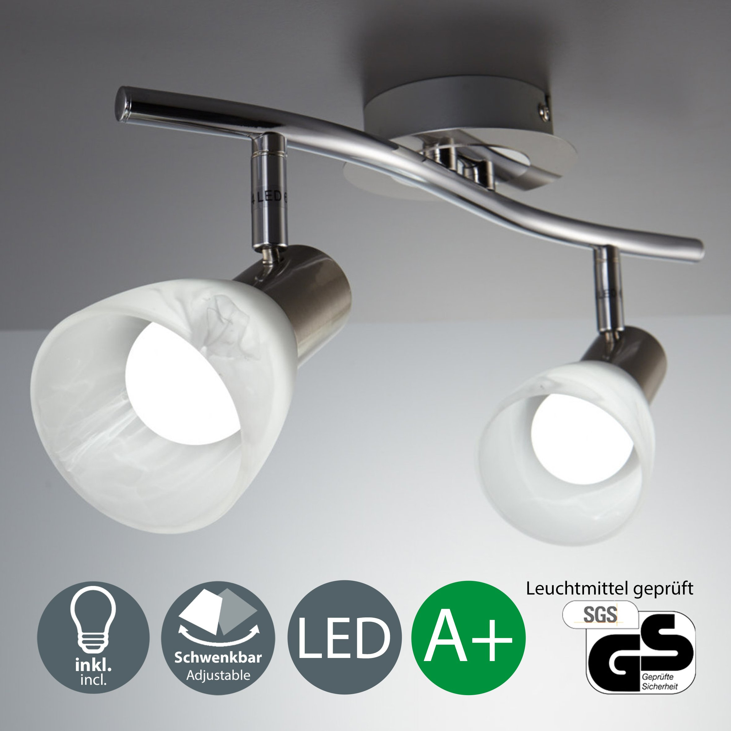 Lámpara LED de techo I Focos giratorios I Lámpara de techo con 2 bombillas E14 I
