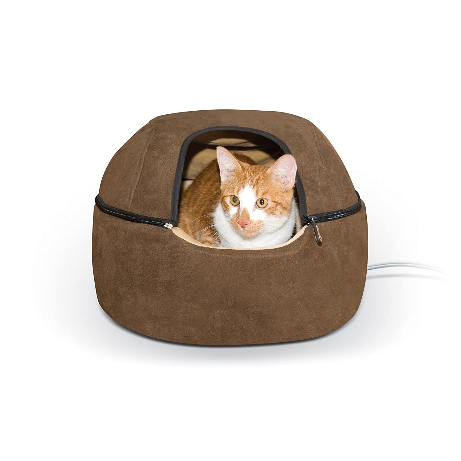 K&H Manufacturing 4W Thermo-Kitty Dome Bed, Large/20-Inch, Chocolate 3898