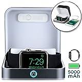 Apple Watch 充電 ケース, [5-in-1 プレミアム ウォッチ ケース, パワーバンク, スタンド] SUMATO WATCHBOX 充電ケーブル 付属, 5000mAh バッテリー + キーホルダー型 ポケット 充電器 500mAh, 38 42mm Series 3 2 1 Nike+ (ダークグレイ)