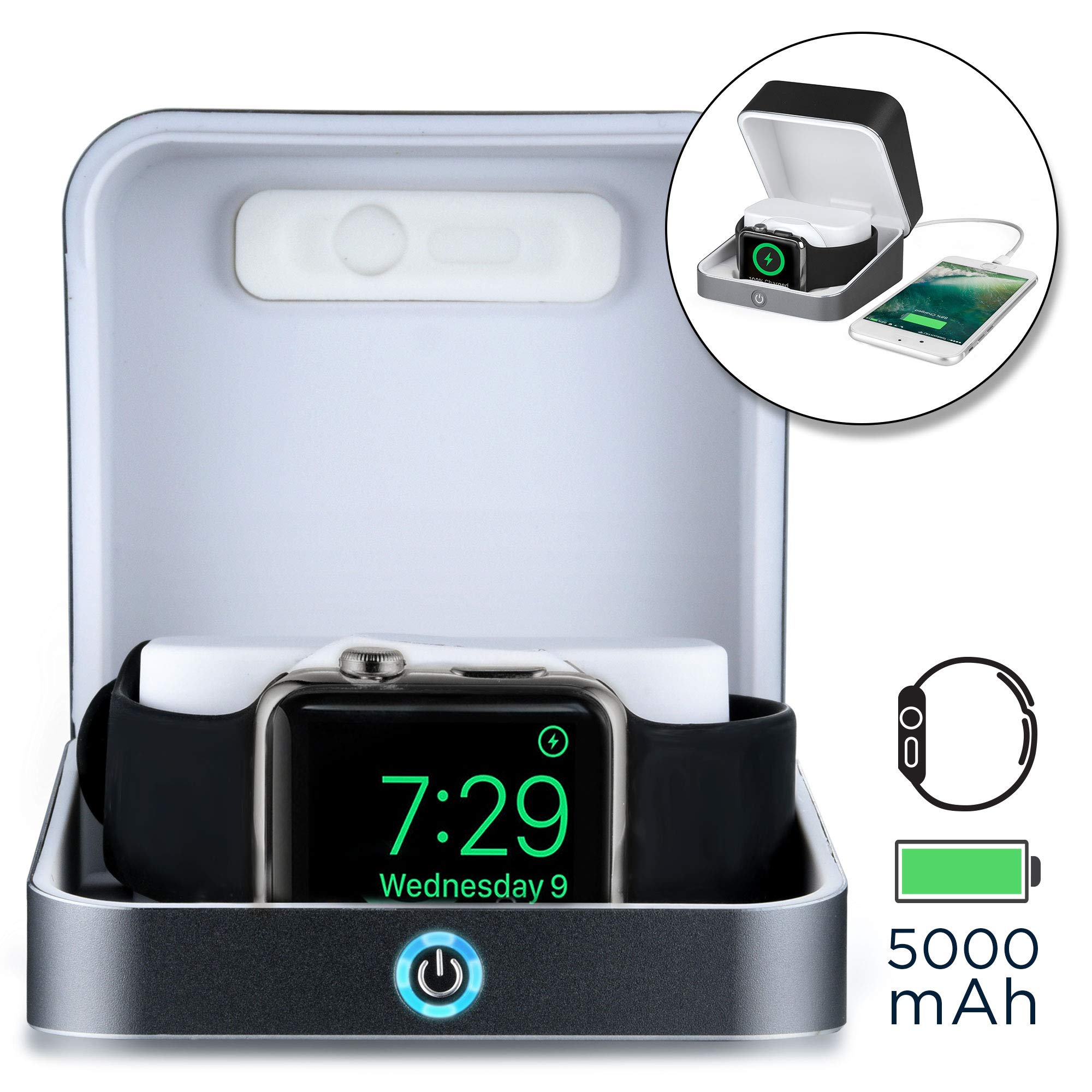 SUMATO WATCHBOX Charger case Compatible Apple Watch 1 2 3 | Charger, Power Bank Works iWatch & iPhone | Travel Box, Charging Station | MFI Certified, 5000mAh, Built-in Cable (Dark Gray)