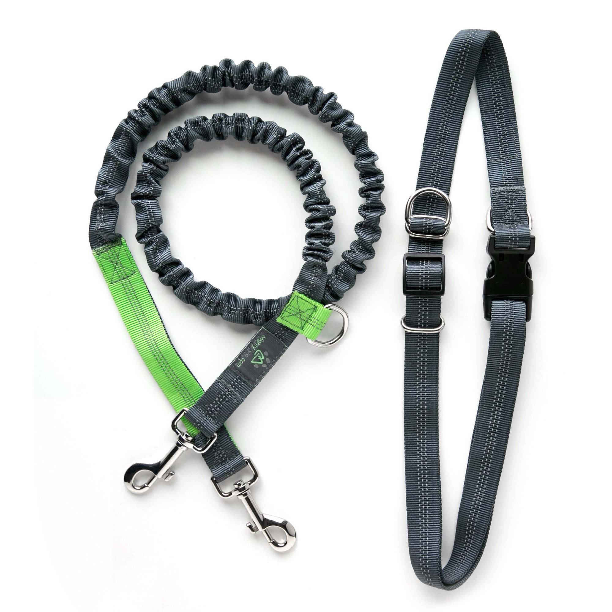 Mighty Paw Hands Free Dog Leash with Extra Length, Premium Running Dog Leash, Lightweight Reflective Bungee Dog Leash (Grey/Lime - 48 Inch Bungee)