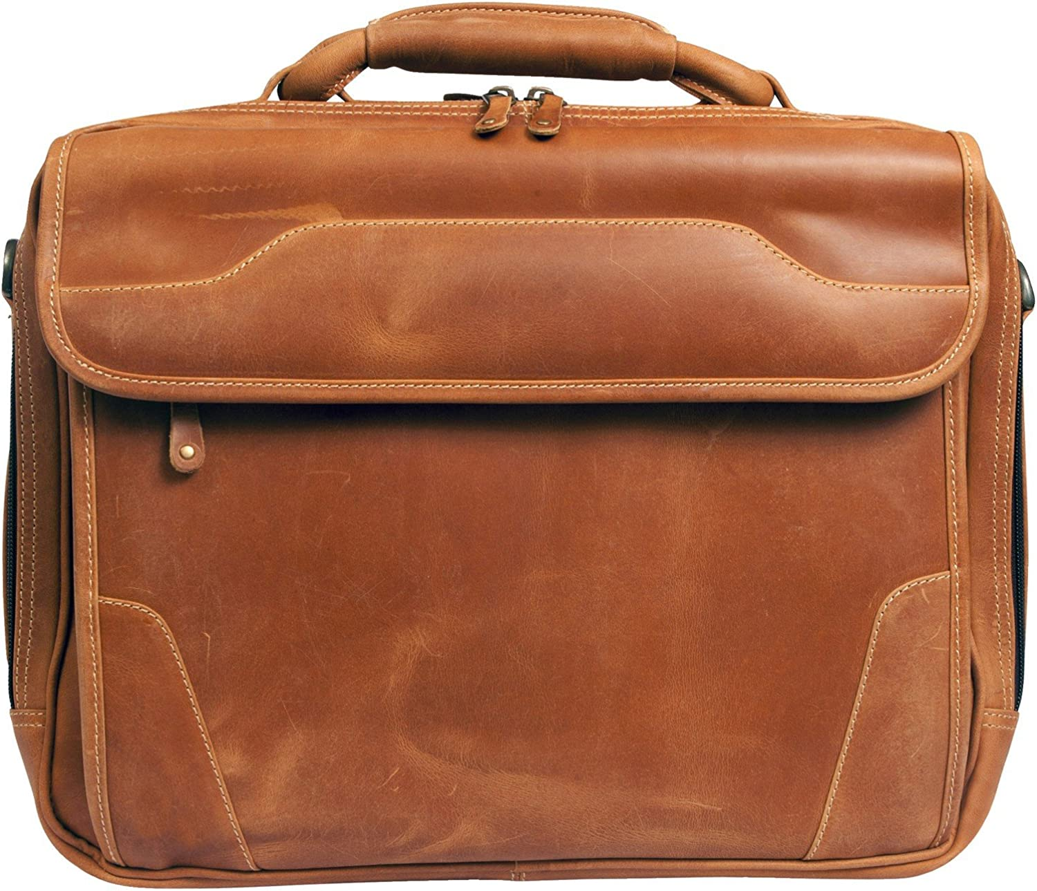Canyon Outback Dakota Pines 14 Leather Computer Briefcase, Distressed Tan