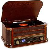 auna RM1 Belle Epoque 1908 chaîne stéréo look rétro avec platine vinyle et Bluetooth (USB, tuner AM/FM) - Bois