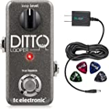 TC Electronic Ditto Looper Effects Pedal –INCLUDES– Blucoil 9V Pedal Power Supply AND 4 Pack Guitar Picks
