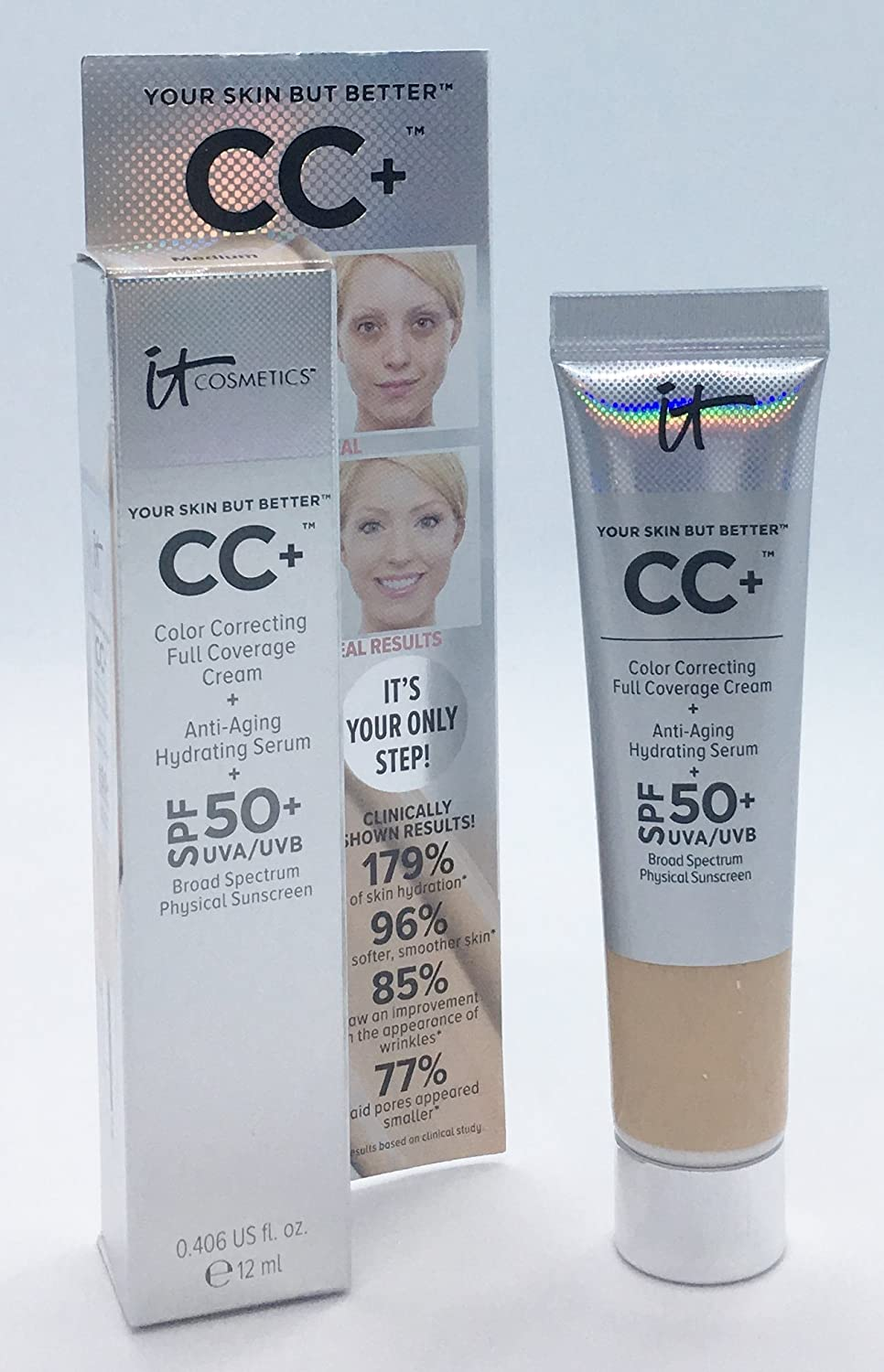 IT Cosmetics Your Skin But Better CC+ Cream SPF 50+, 12 ml, Travel Size - Medium
