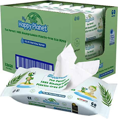 My Happy Planet Toallitas húmedas para bebés 100% biodegradables ...