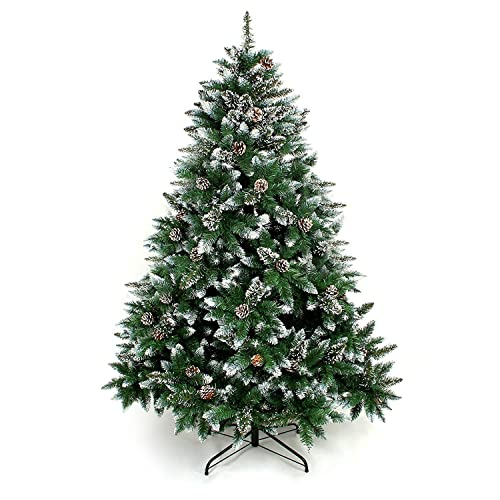 Senjie Artificial Christmas Tree 6,7,7.5 Foot Flocked Snow Trees with Pine Cone Decoration Unlit (7.5 Foot)