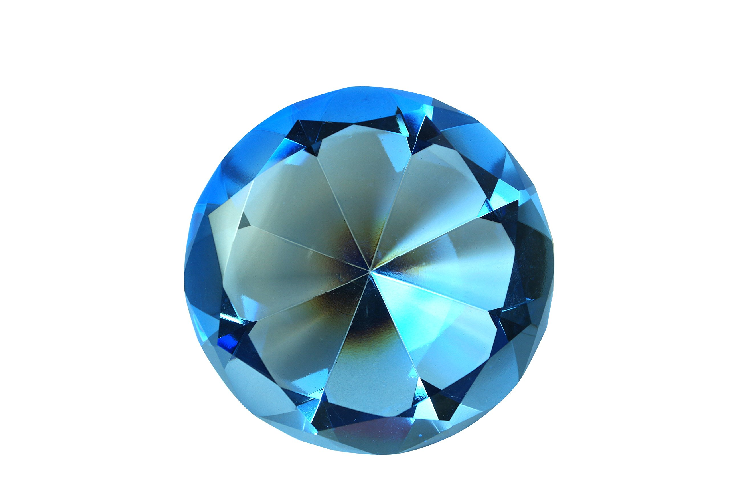 100 mm Sapphire Blue Diamond Shaped Crystal Jewel Paperweight by Tripact - 04