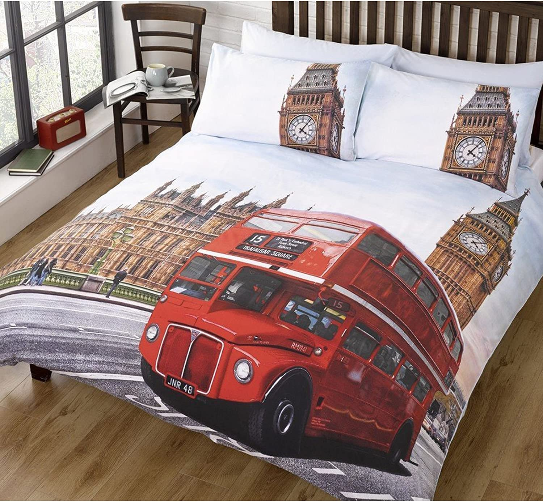 London Bus Duvet Cover + Pillowcase Set