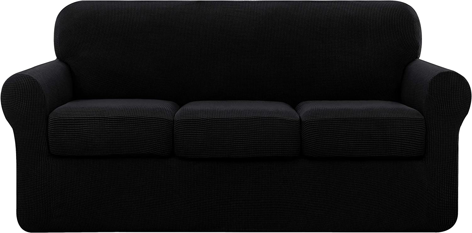 subrtex Sofa Cover High Stretch Couch Slipcover with Separate Cushion Couch Cover Soft Loveseat Slipcover Furniture Protector Machine Washable(Black,Large)