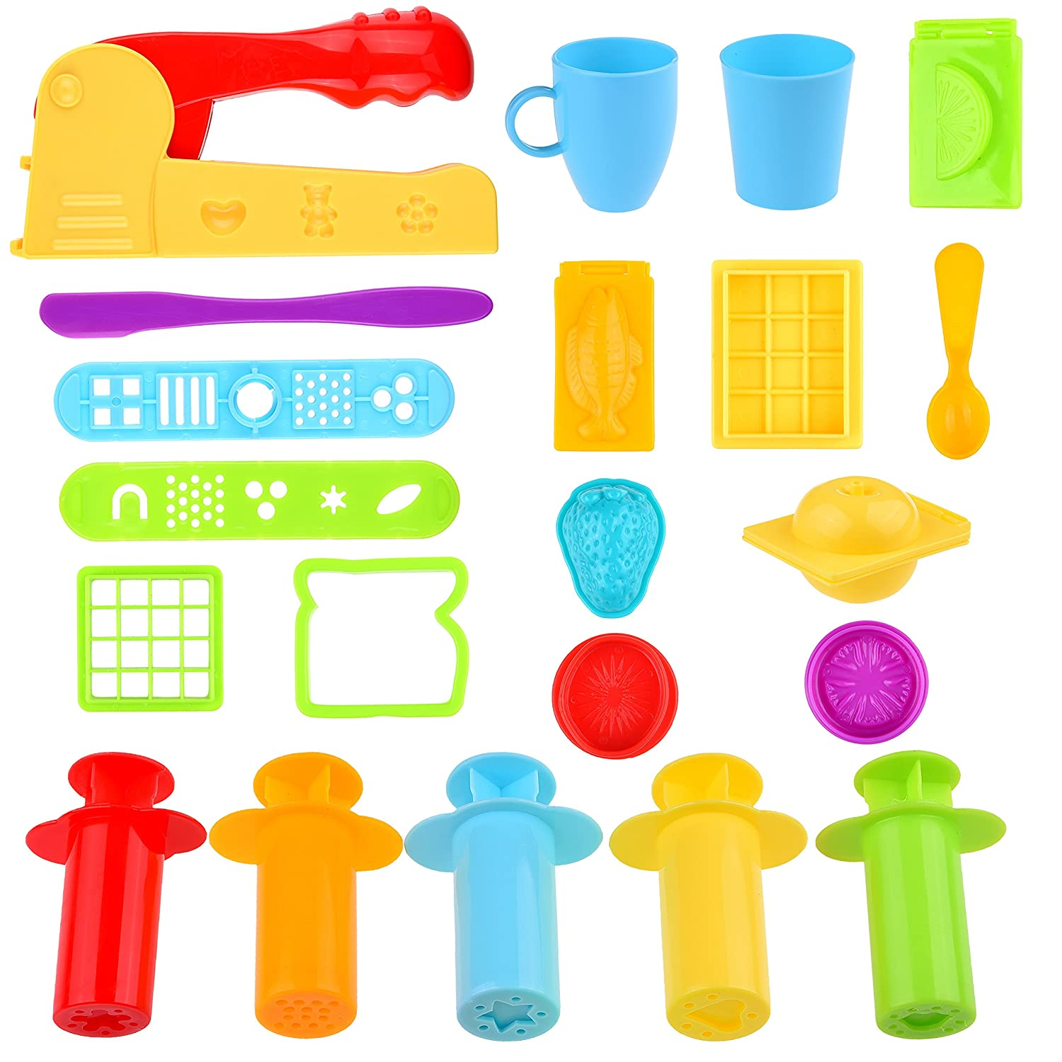 Kare & Kind Set of 21 pcs Smart Dough Tools Kit with Extruder Machine/Extruder Tools/Models and Molds (Food, Silverware)