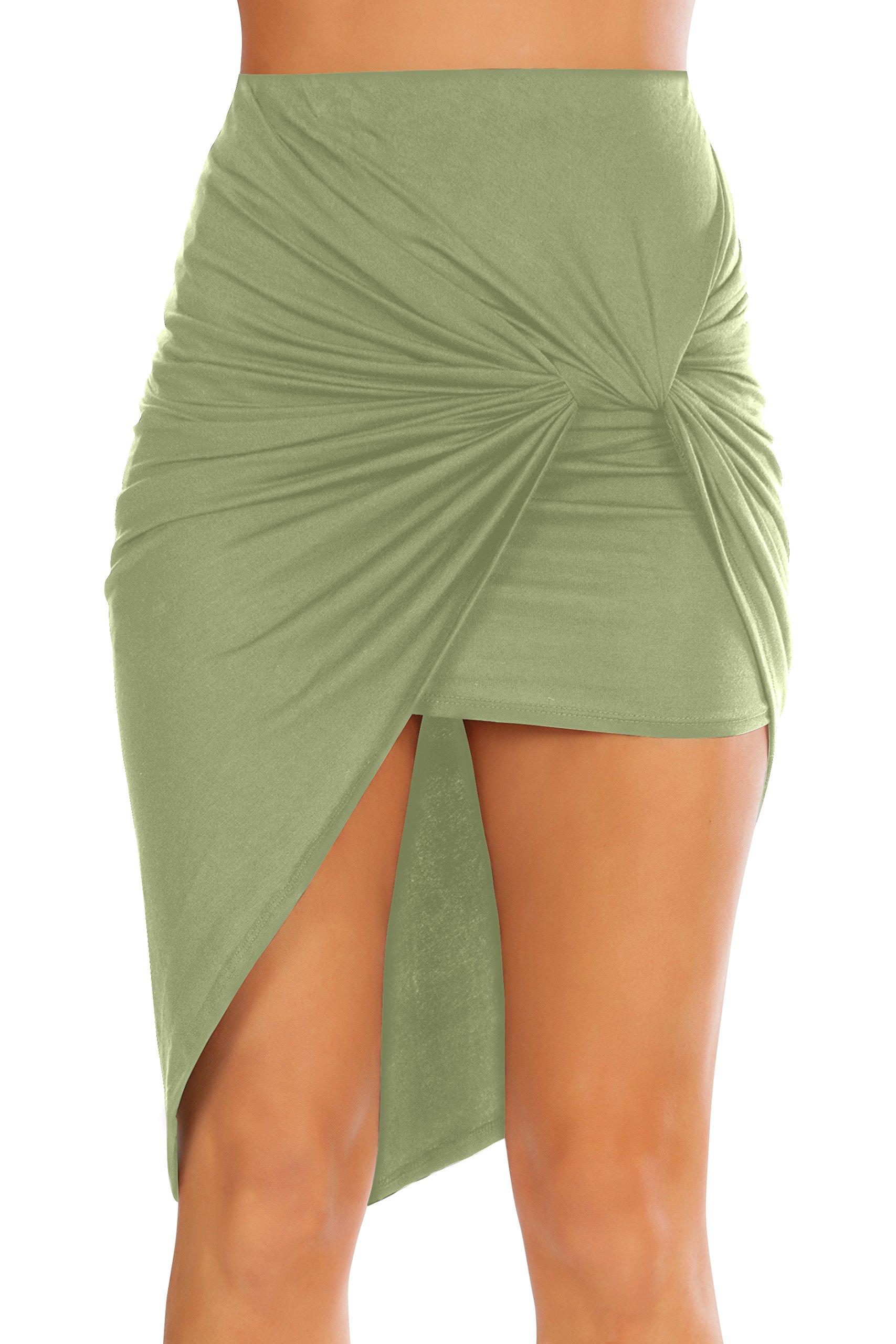 Womens Drape up Stretchy Asymmetrical High Low Short Mini Bodycon Pencil Skirt Sage Medium