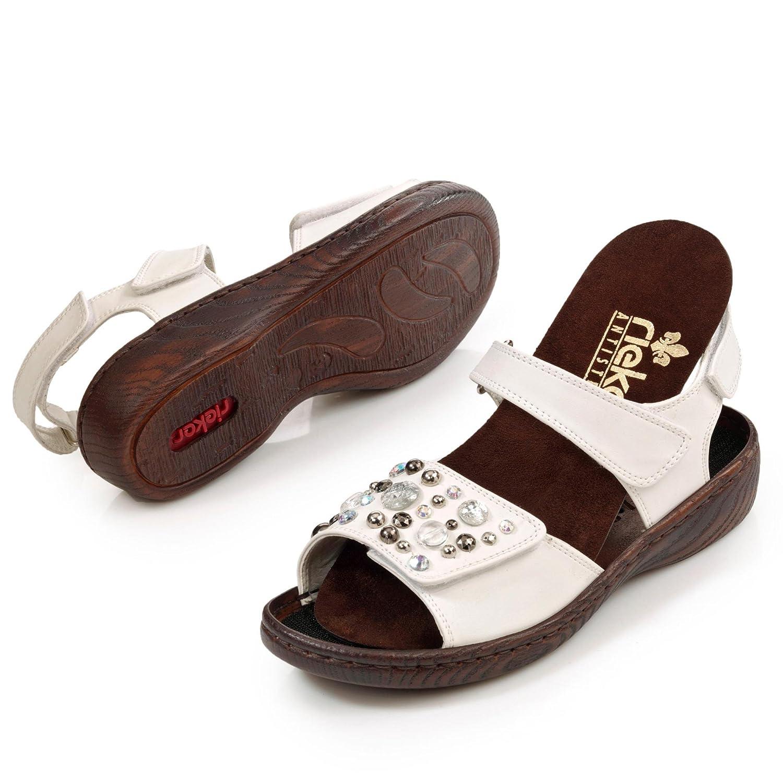 Rieker Damen Sandalen Pantolette Bogota, herausnehmbares Fußbett, PU Sohle